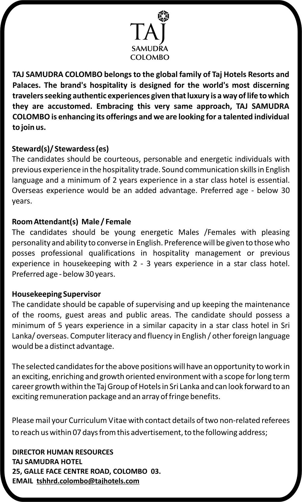 Stewards Room Attendants Housekeeping Supervisor Job Vacancy in