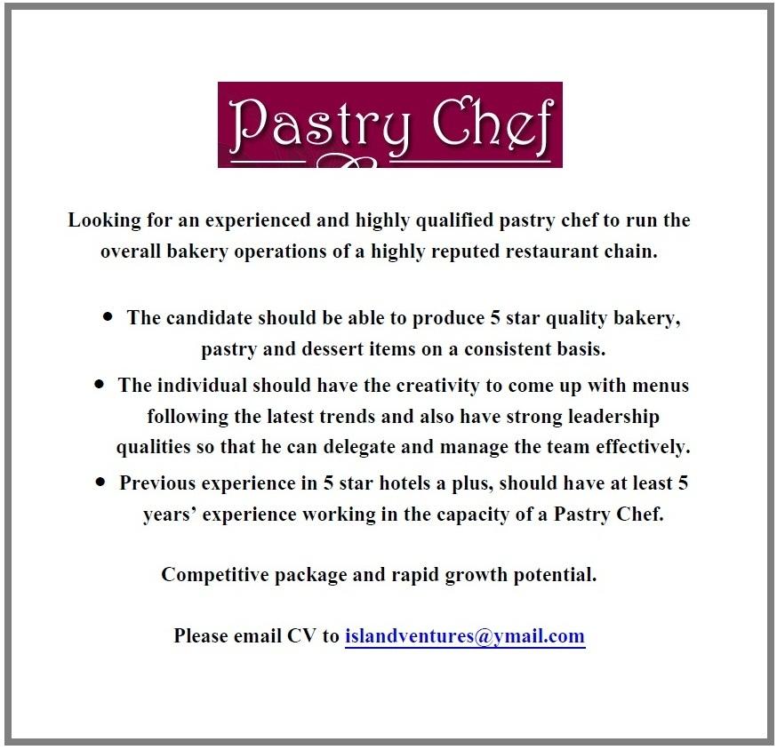 Pastry Chef Job Vacancy in Sri Lanka