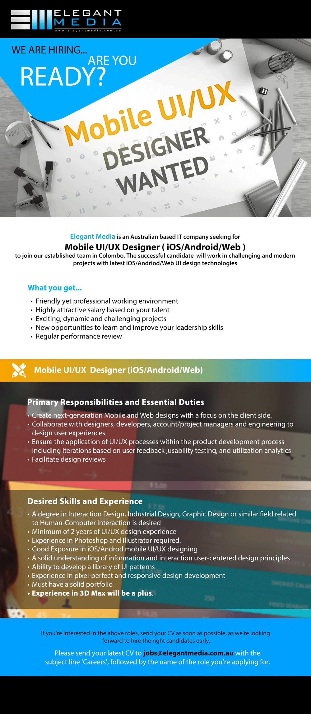 Mobile UI / UX Designer (iPhones / Android / Web) 2019
