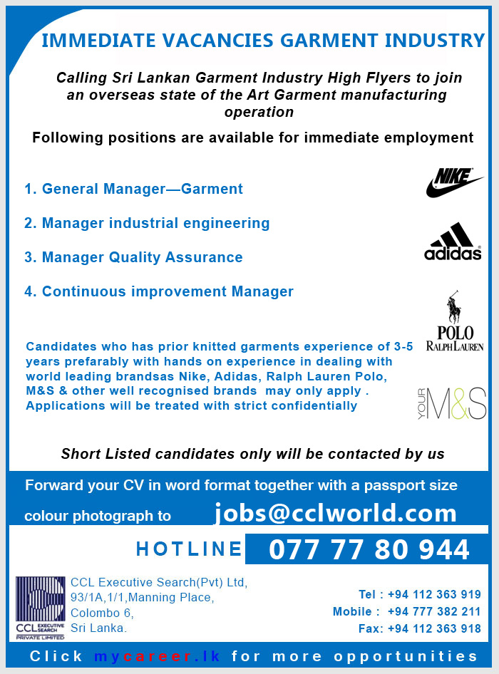 General ManagerGarment Manager Industrial Engineering  Manager