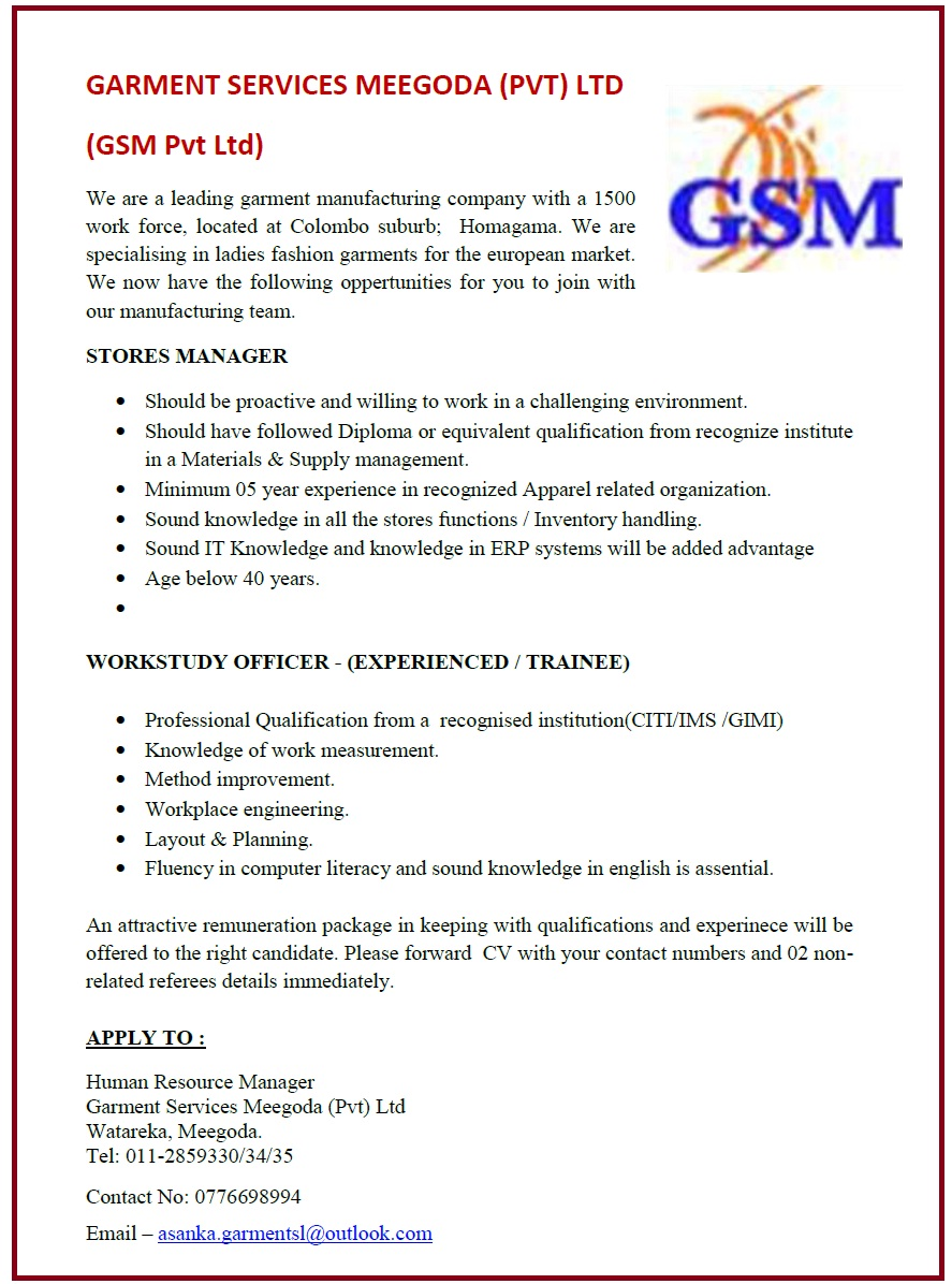Stores Manager / Work Study Officer - (Experienced / Trainee)