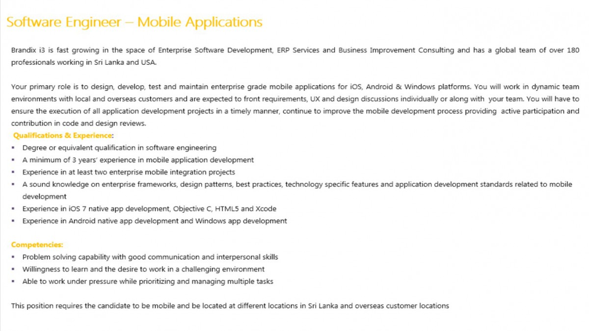 Looking For Mobile Application Engineer.. Requirements; Degree Or  Equivalent Qualification In SE Experience In IOS 7 Native App Development.