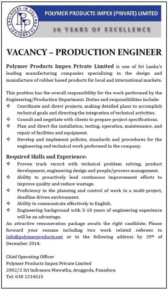Production Engineer Job Vacancy In Sri Lanka