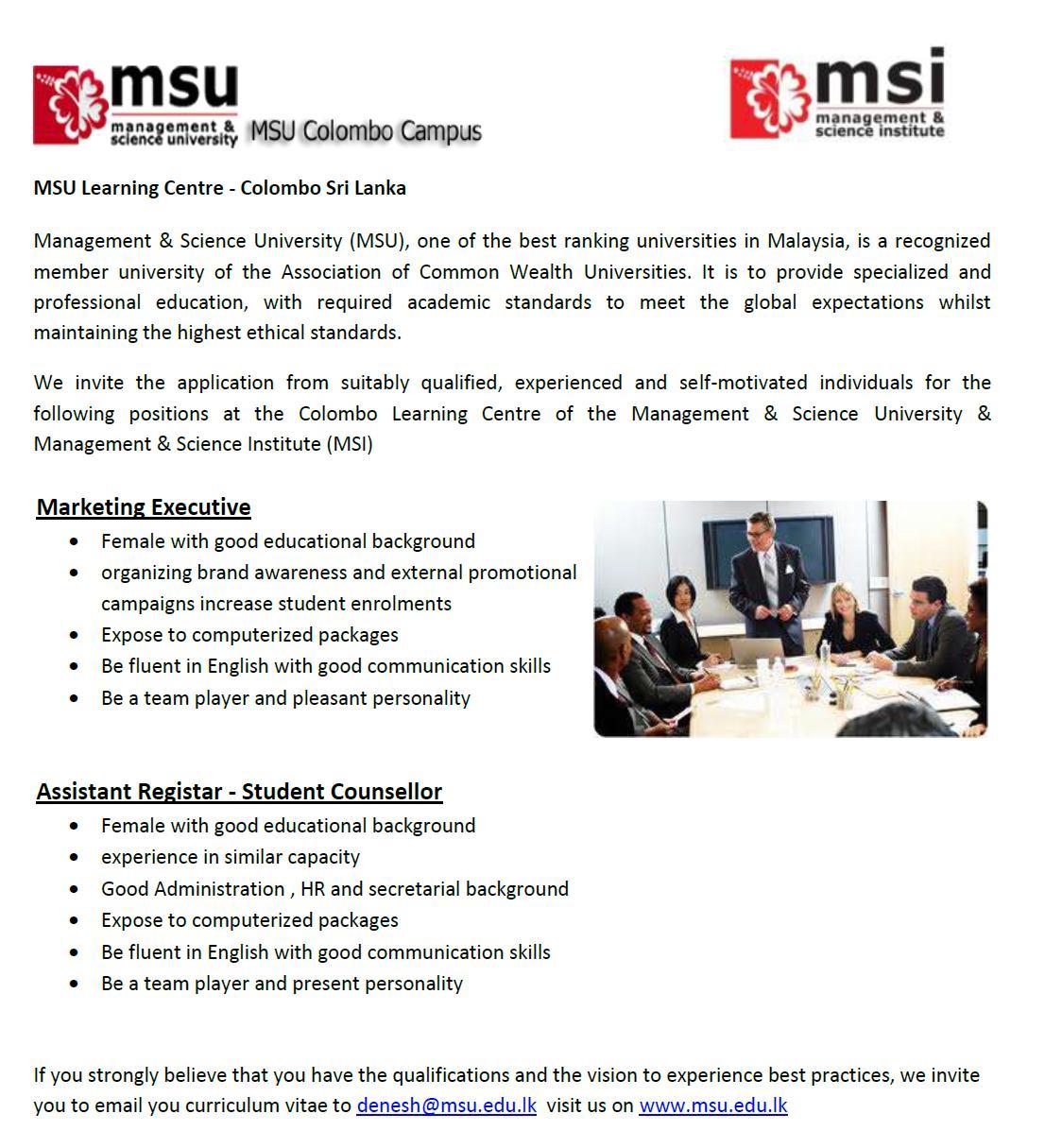 Marketing Executive / Assistant Registar