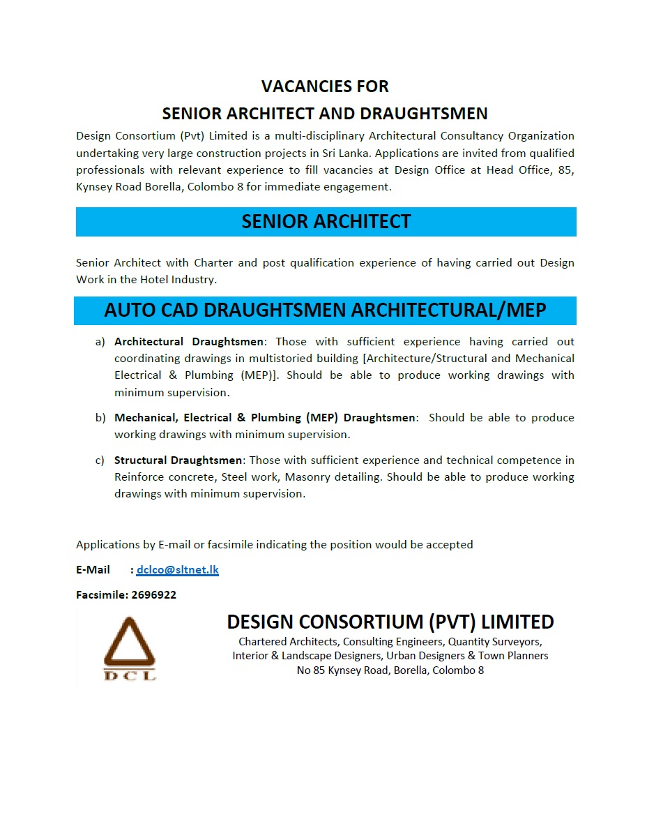 senior architect auto cad draughtsmen architectura mep job building architecture structural and mechanical electrical plumbing mep should be able to produce working drawings minimum supervision