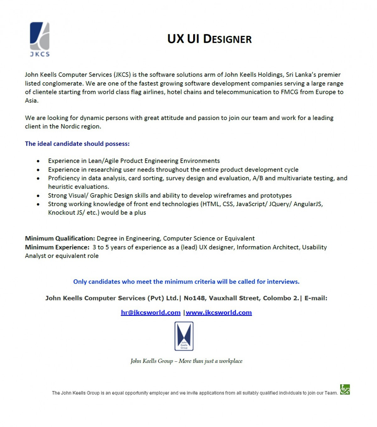 ux ui designer job vacancy in sri lanka
