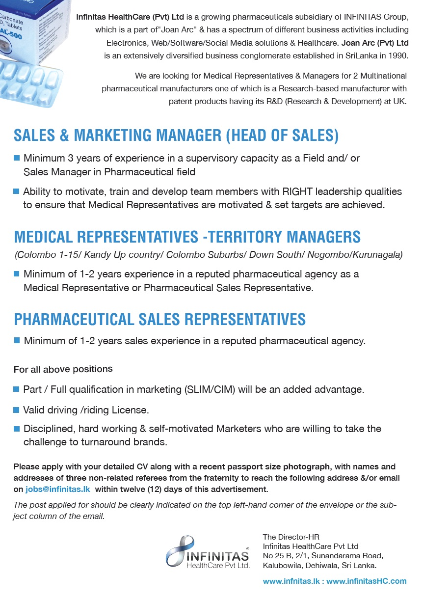 Sales Marketing Manager Head Of Sales Medical Representatives