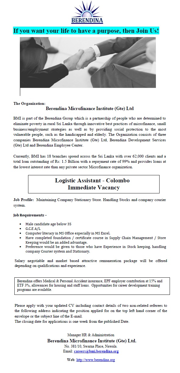 Logistic Assistant - Colombo Job Vacancy in Sri Lanka