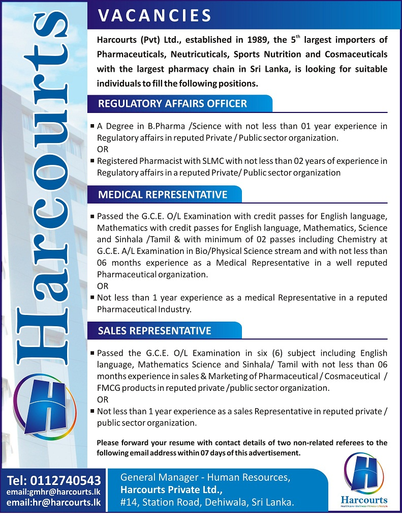 regulatory affairs officer medical representative s regulatory affairs officer 9632 a degree in b pharma science not less than 01 year experience in regulatory affairs in reputed private public sector