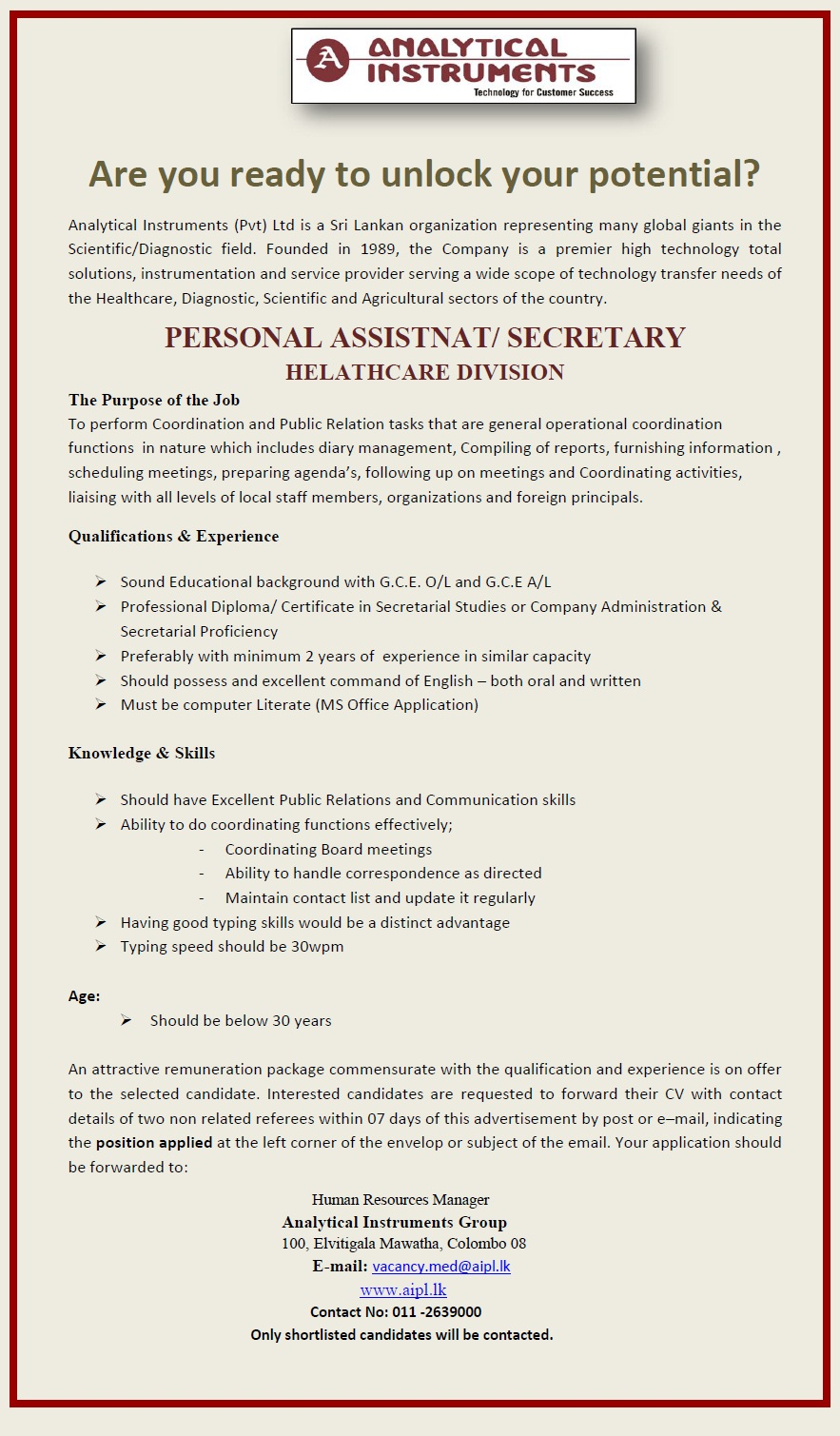 personal assistant personal secretary job vacancy in sri lanka personal assistant personal secretary qualifications > sound educational background g c e o l and g c e a l > professional diploma certificate in