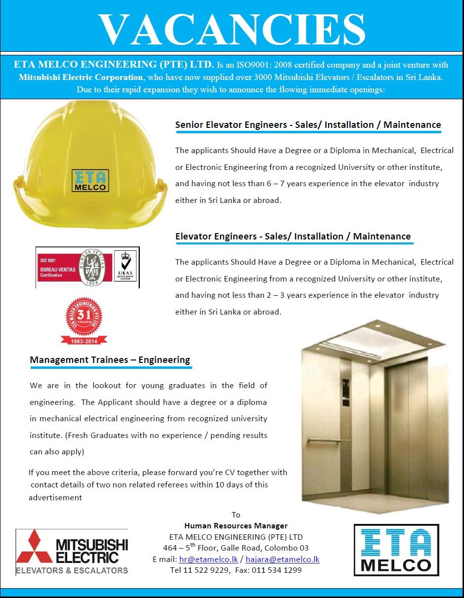 Senior Elevator Engineers / Elevator Engineers