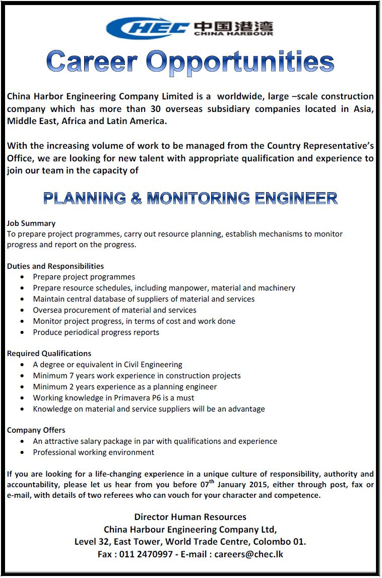 Planning & Monitoring Engineer