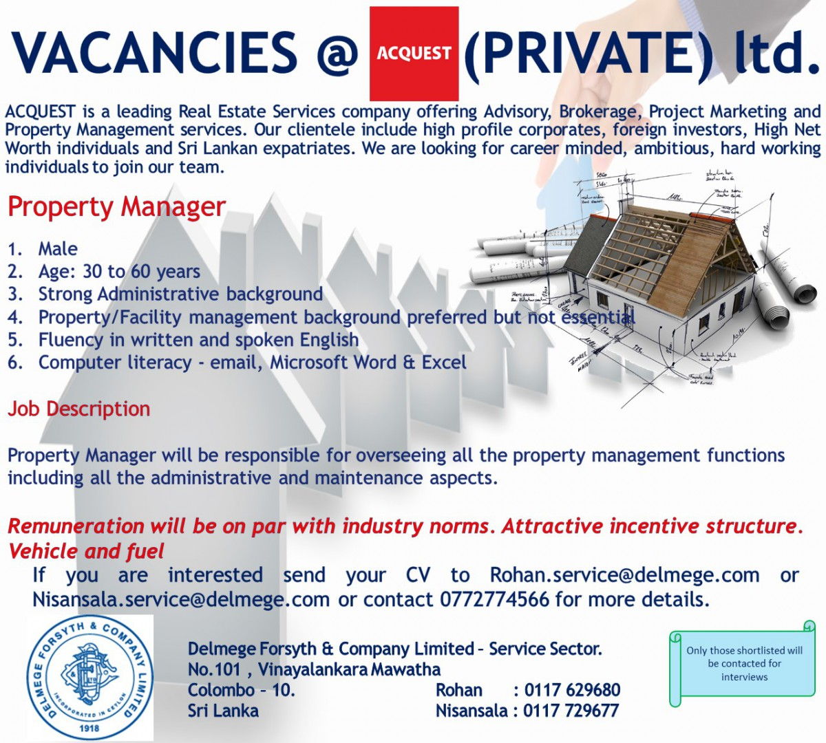 property manager colombo job vacancy in sri lanka acquest is a leading real estate services company offering advisory brokerage project marketing and property management services we are looking for career