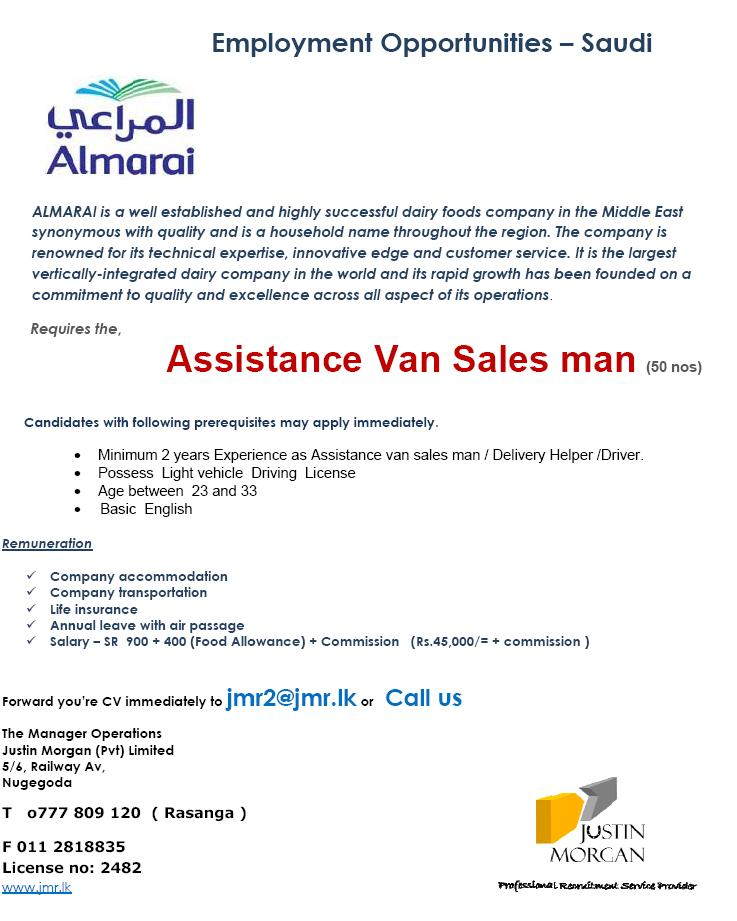 Assistance Van Salesman Almarai