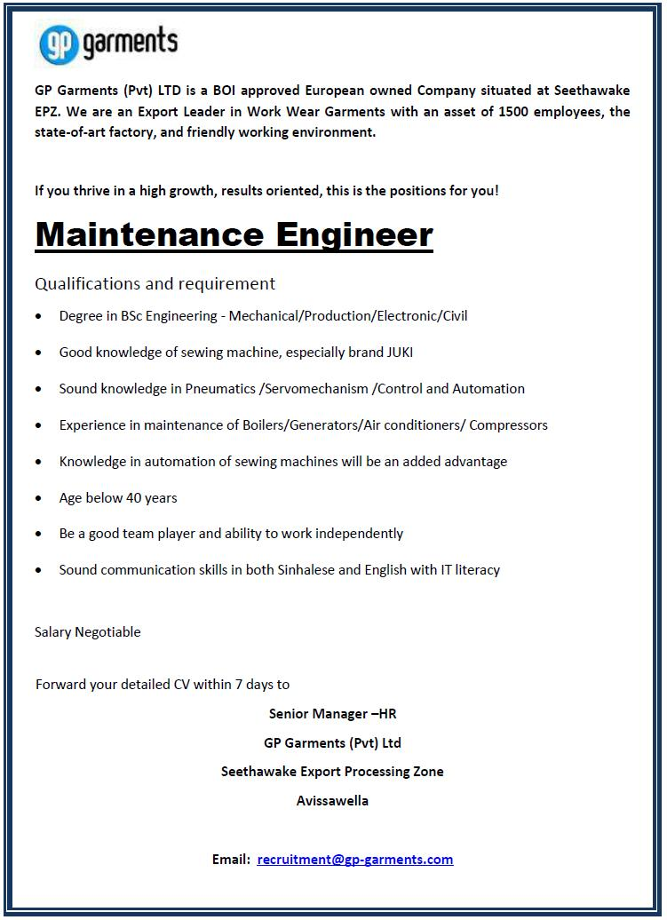 Maintenance Engineer Job Vacancy In Sri Lanka