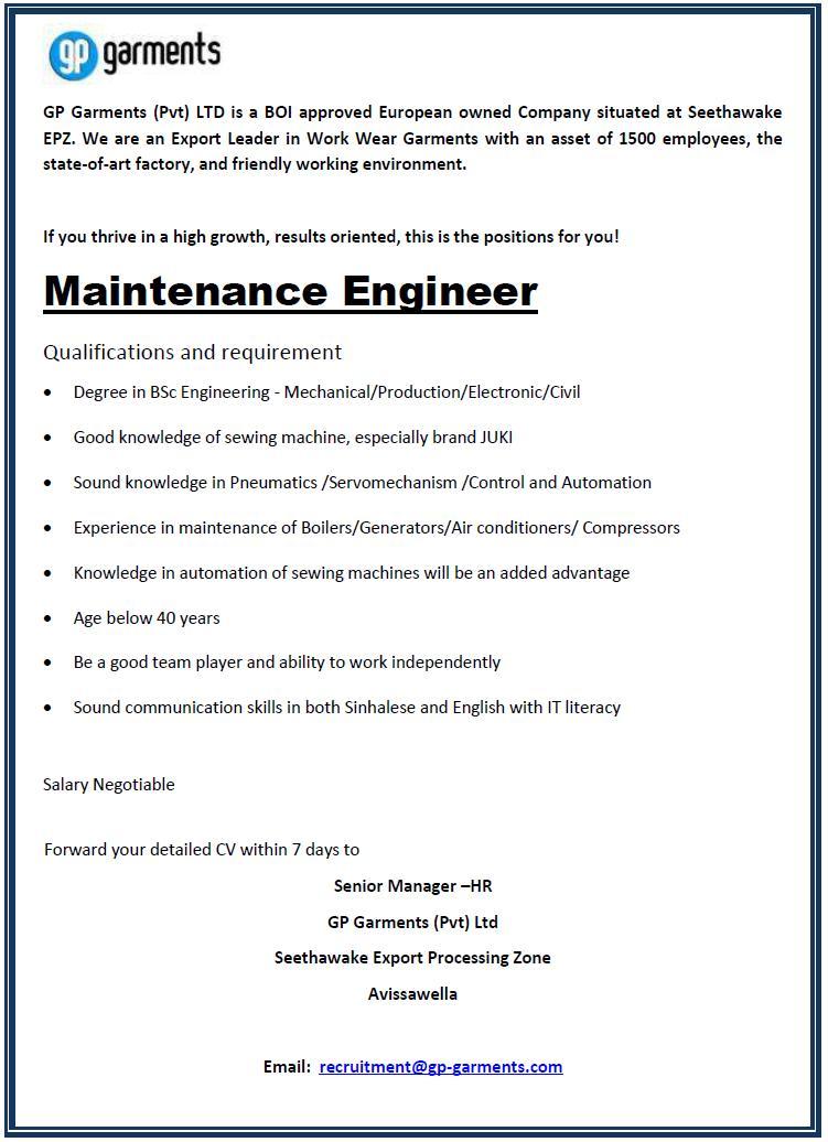 Maintenance Engineer Job Vacancy in Sri Lanka – Maintenance Engineer Job Description