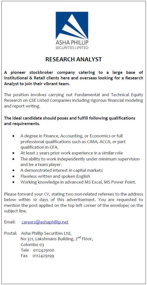 Research Analyst Job Vacancy In Sri Lanka