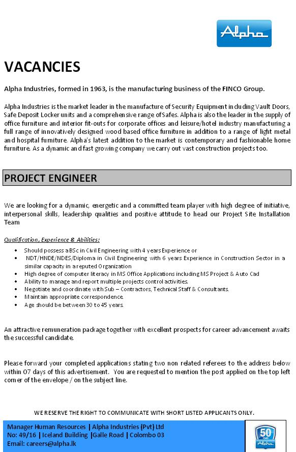 Project Engineer Job Vacancy In Sri Lanka