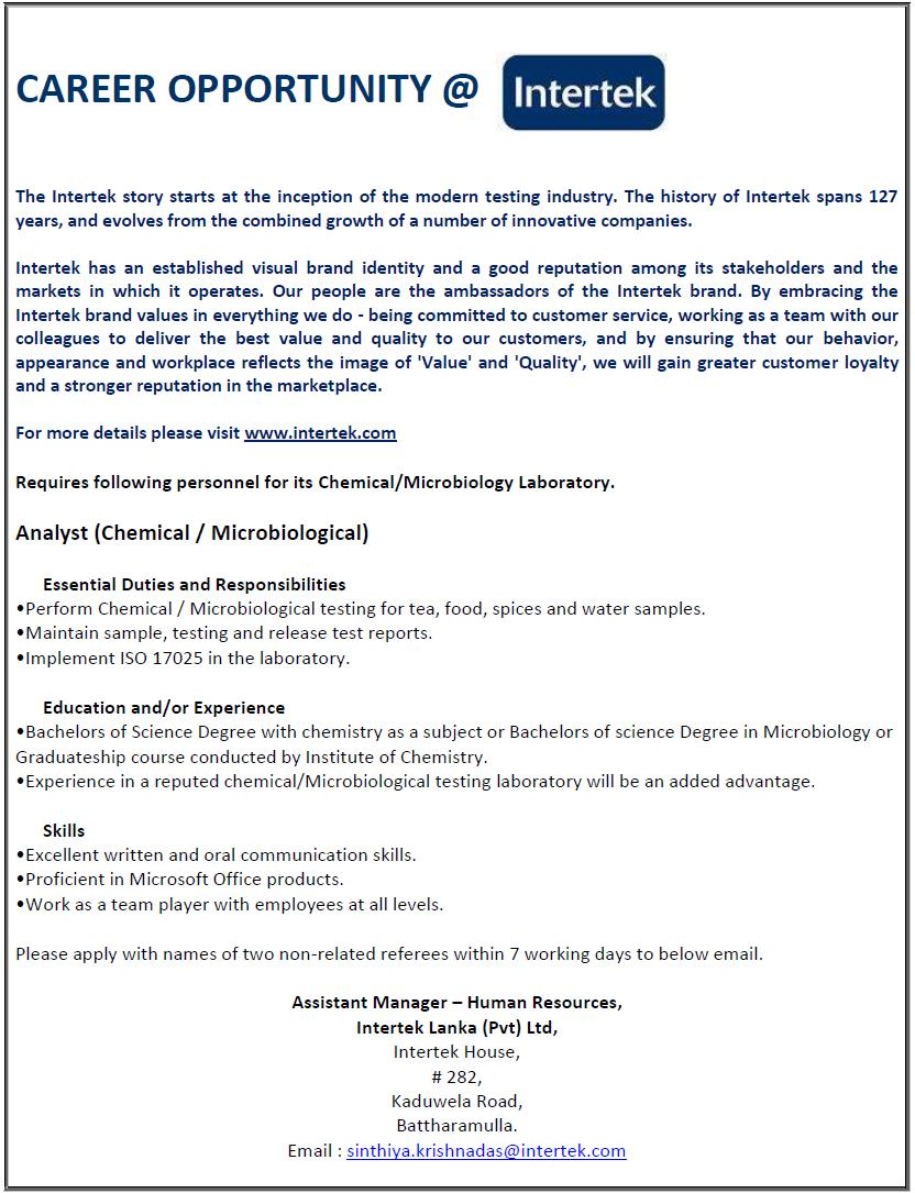 Chemical Analyst Microbiological Analyst