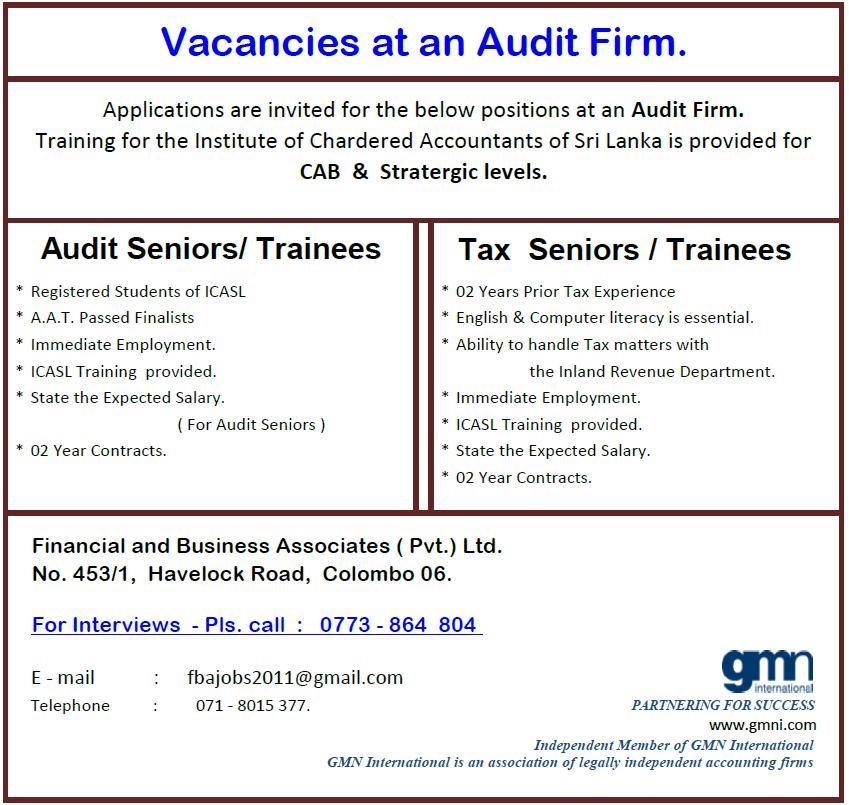 Audit Seniors / Trainees / Tax Seniors / Trainees Job