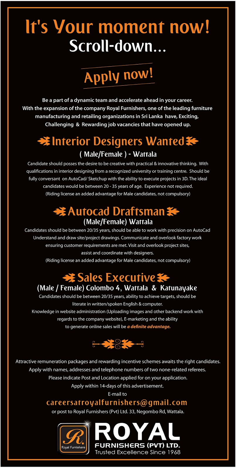 Royal Furnishers Pvt Ltd Is Looking For Interior Designers And AutoCAD DraftsmanIdeal Candidates With Following Qualifications Can Apply