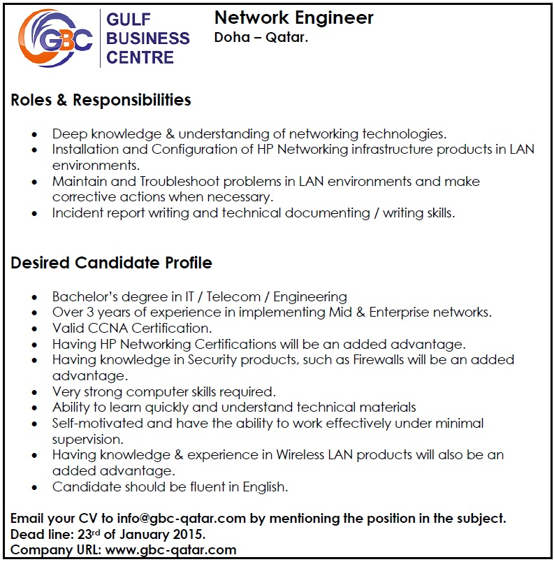 Network Engineer Qatar Job Vacancy In Sri Lanka
