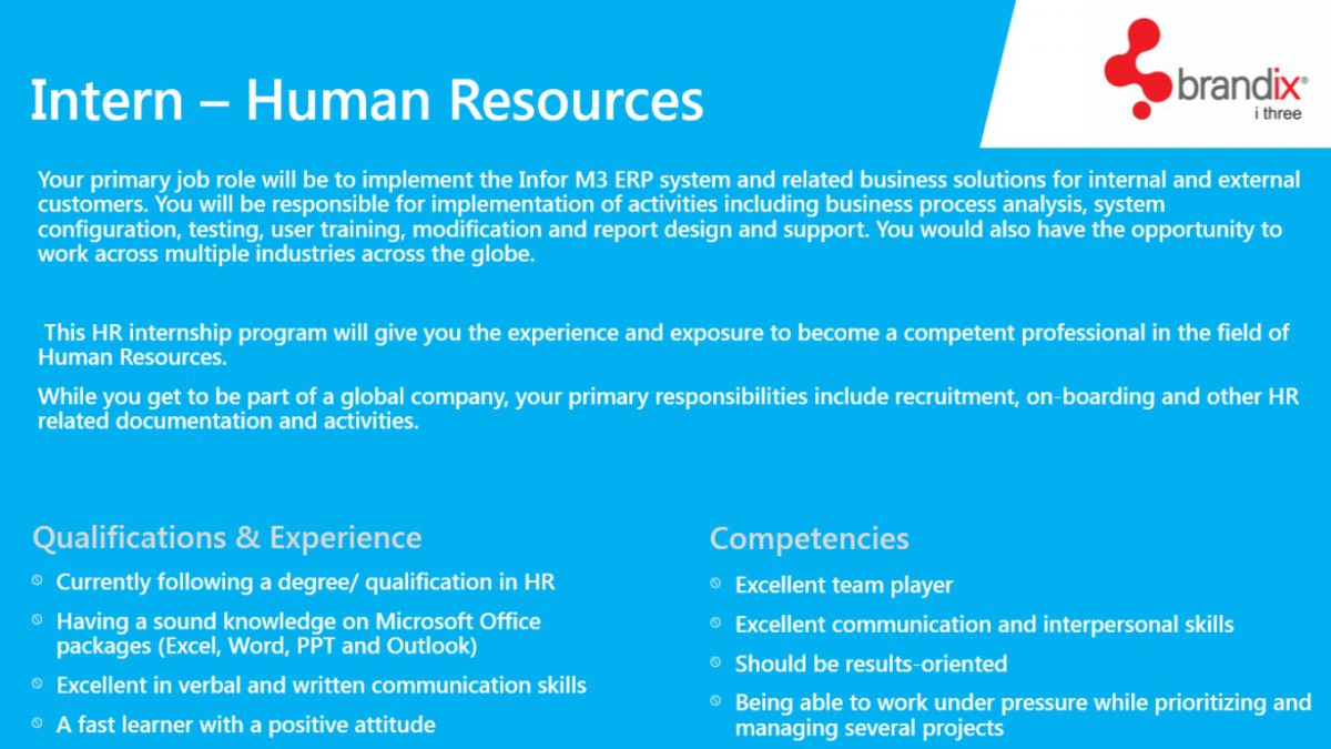 Intern Human Resources Job Vacancy in Sri Lanka – Hr Intern Job Description