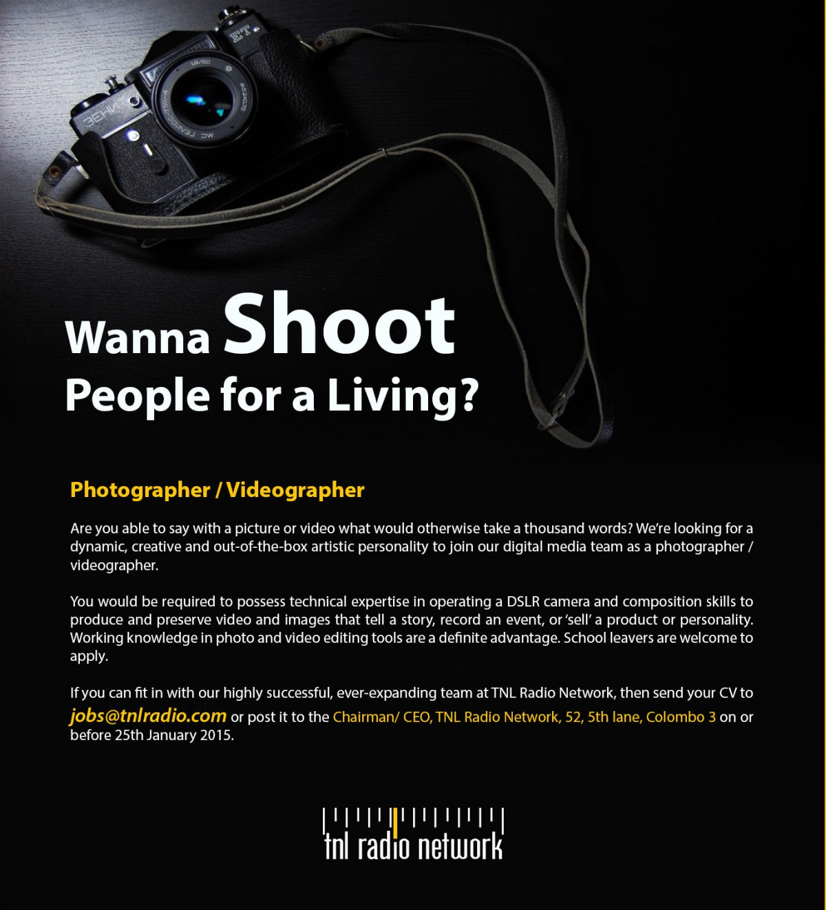 Photographer Videographer Job Vacancy in Sri Lanka – Photographer Job Description