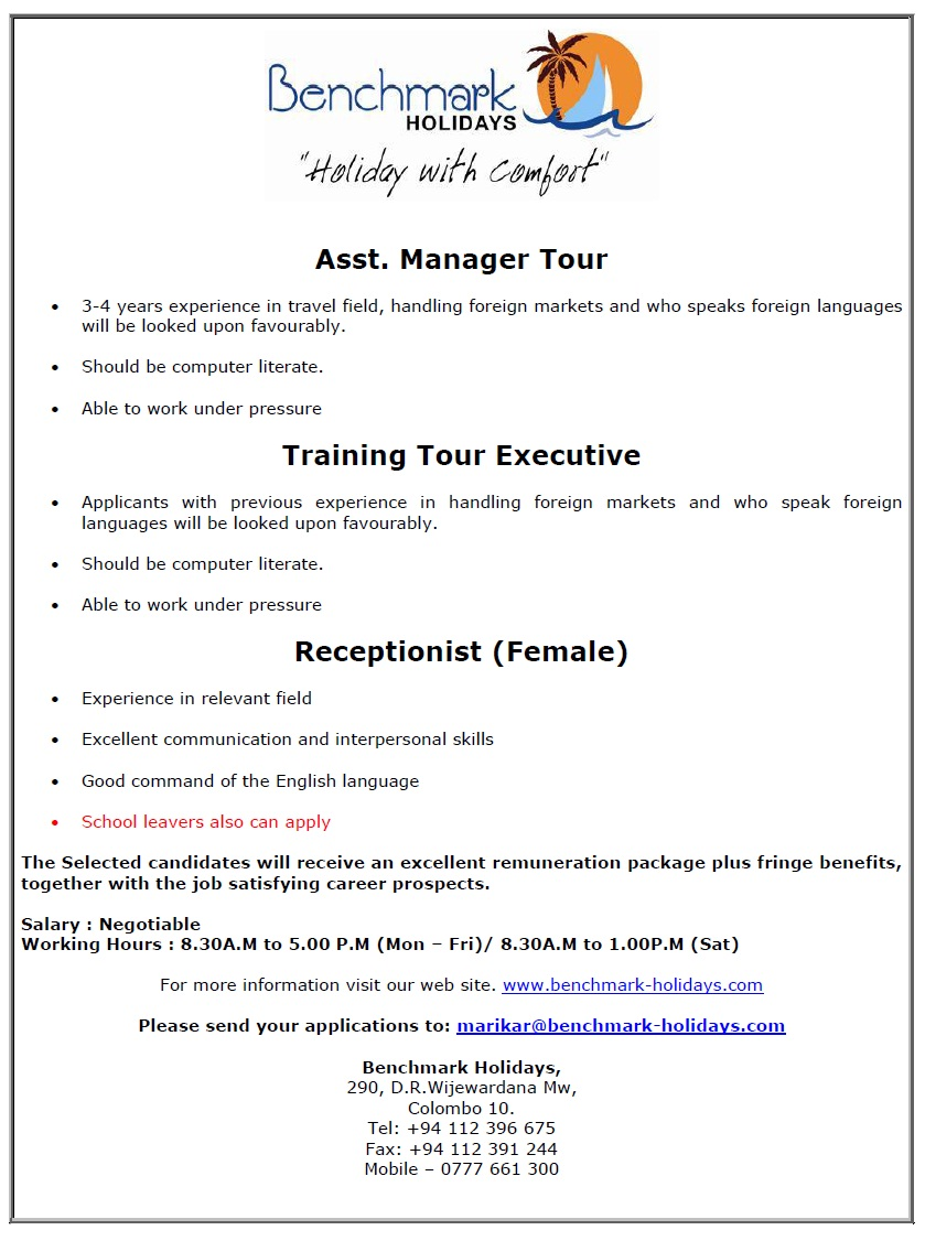asst manager tour 3 4 years experience in travel field handling foreign markets and who speaks foreign languages computer literate
