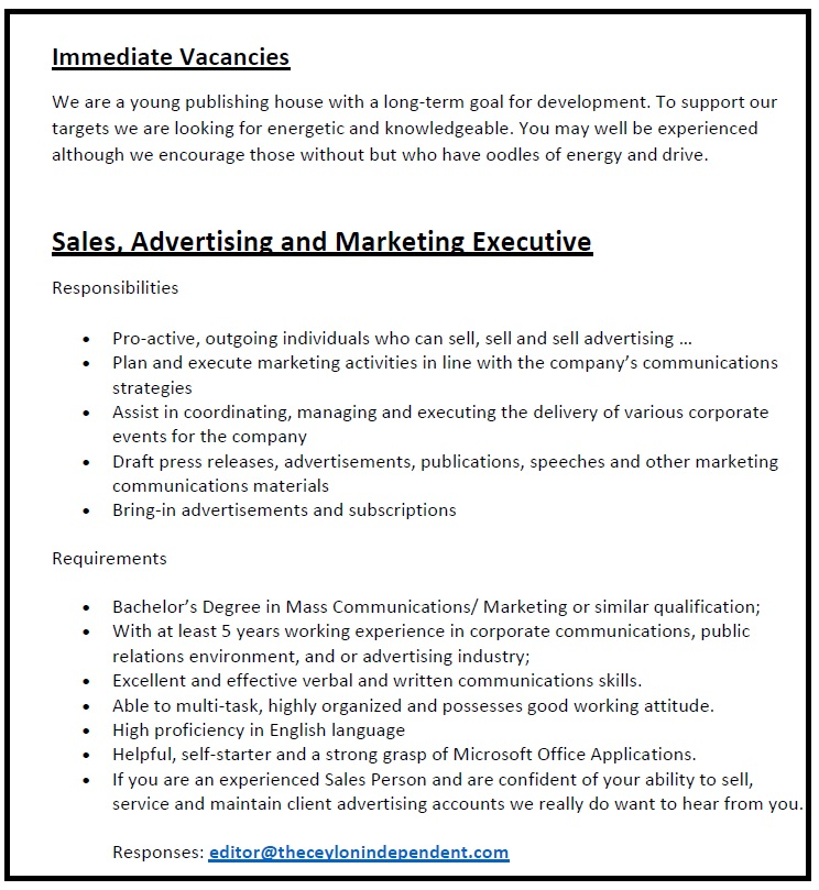 Sales Advertising And Marketing Executive Job Vacancy In Sri Lanka