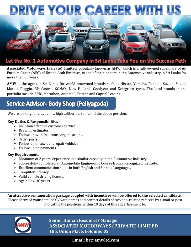 Service Advisor Bodyshop Peliyagoda Job Vacancy In Sri