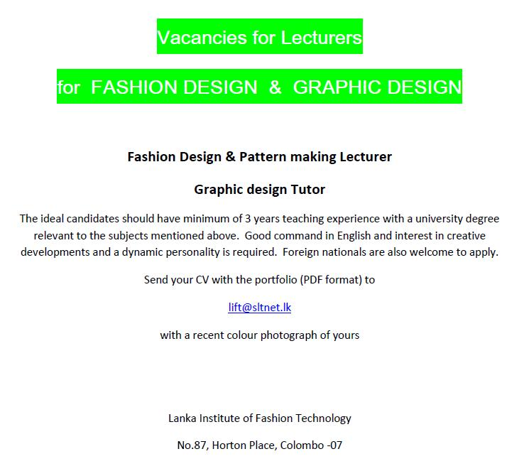 Lecturers Fashion Design Graphic Design