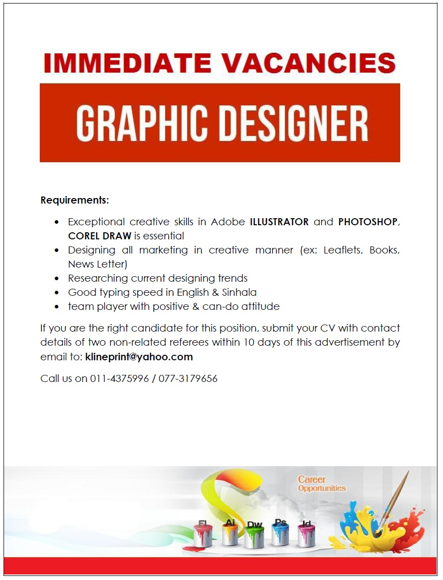 Graphic designer job vacancy in sri lanka for Design firm jobs