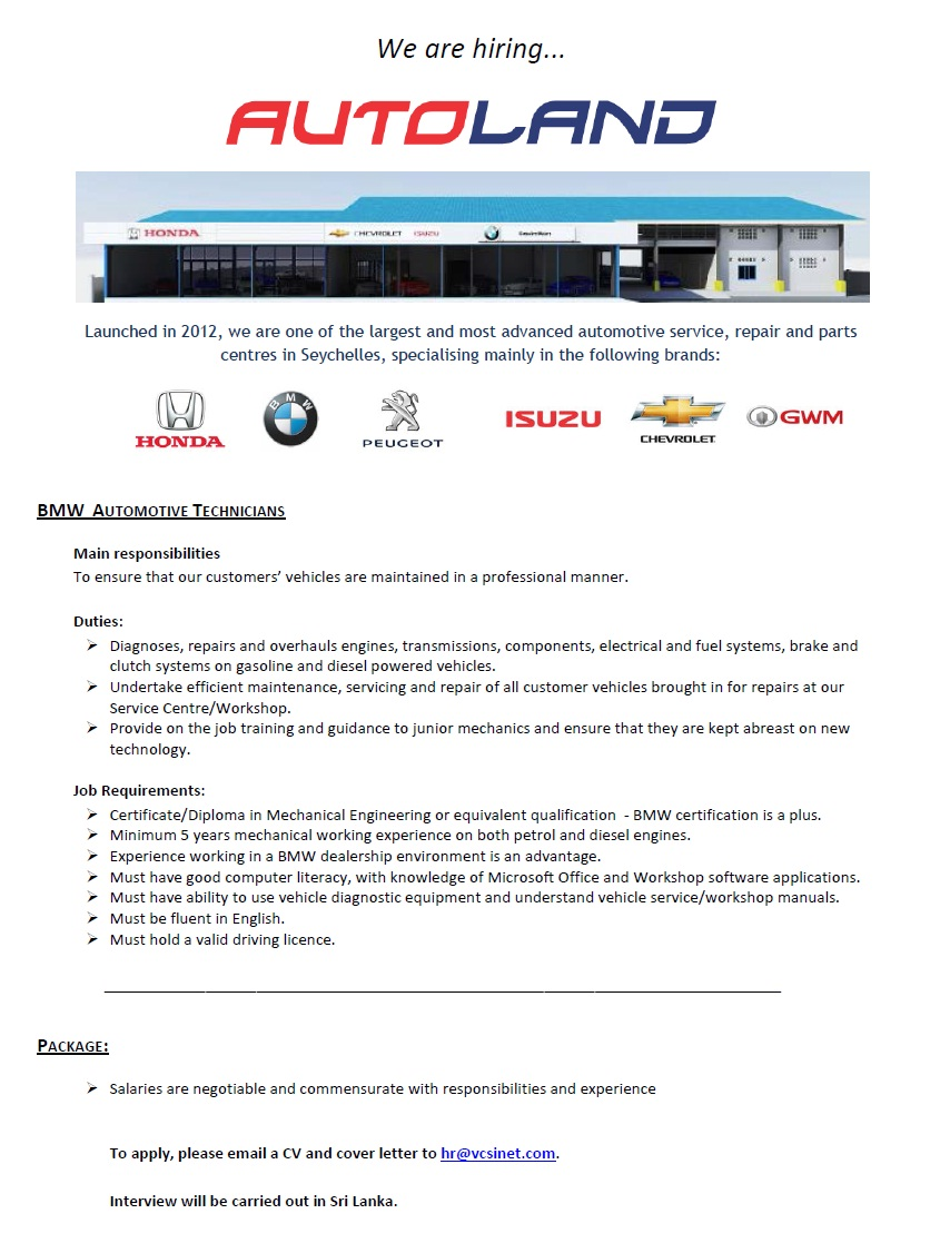bmw automotive technicians job vacancy in sri lanka minimum 5 years mechanical working experience on both petrol and diesel engines > experience working in a bmw dealership environment is an advantage