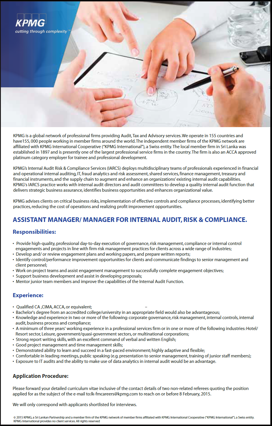 Assistant manager manager for internal audit risk compliance job vacancy in sri lanka - Assistant compliance officer salary ...