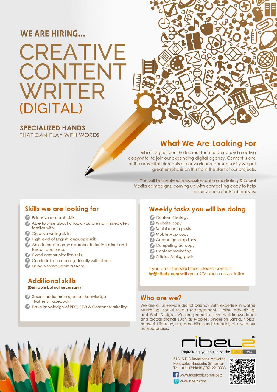 creative content writer job vacancy in sri lanka creative content writer