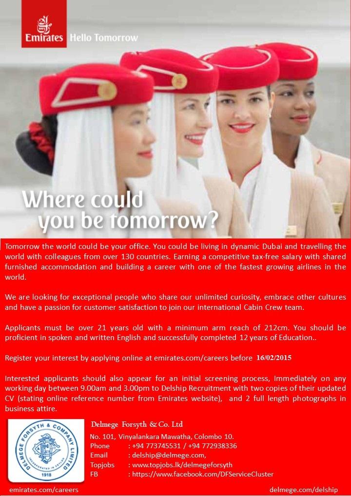 Cabin Crew Emirates Job Vacancy In Sri Lanka