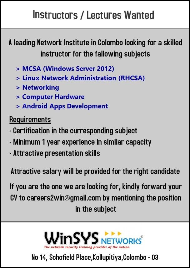 Instructors Lectures Job Vacancy In Sri Lanka
