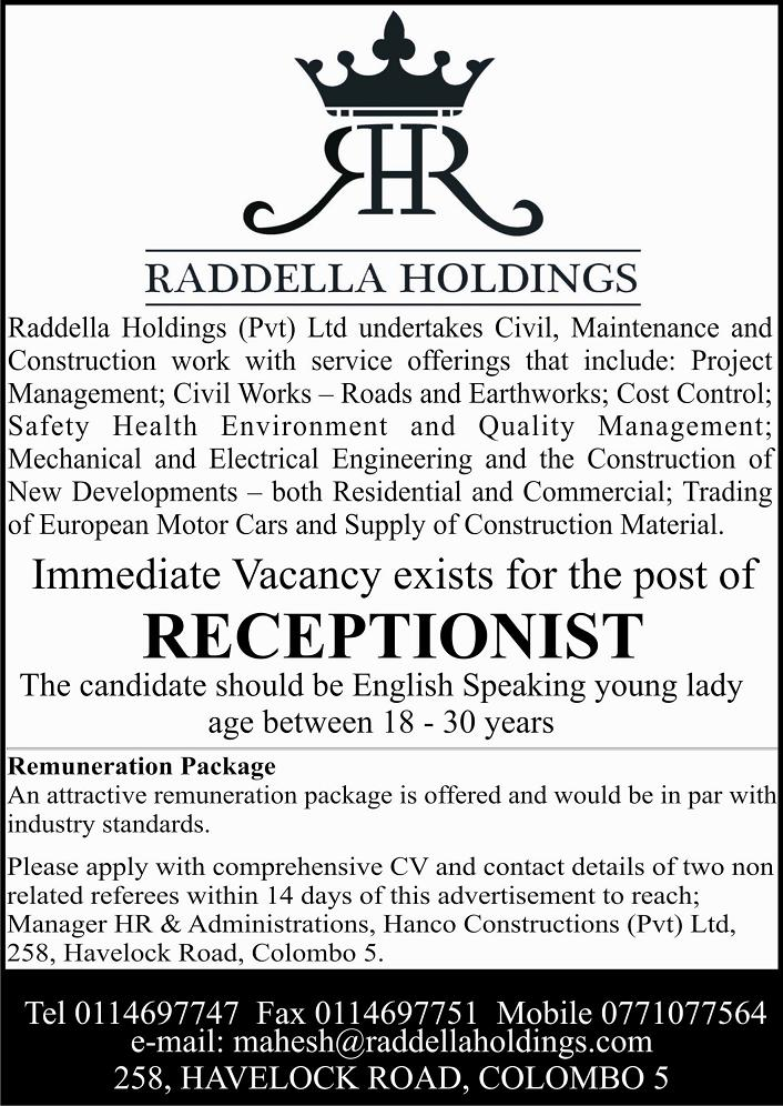 Receptionist Female