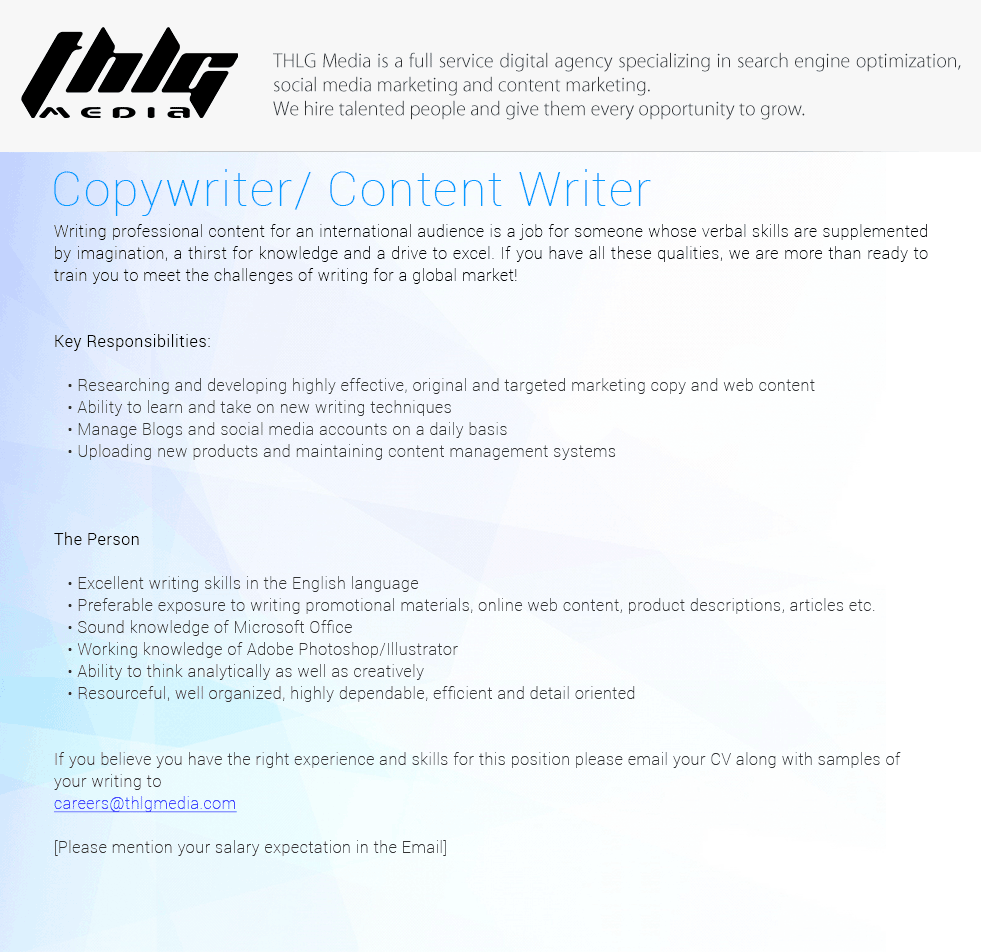 copywriter content writer job vacancy in sri lanka copywriter content writer