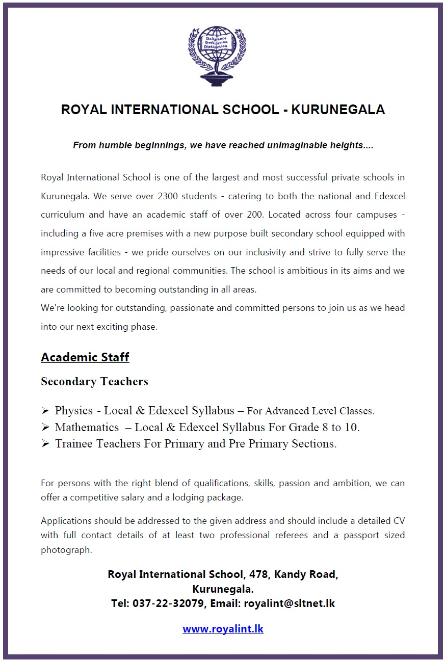 Physics Teachers / Mathematics Teachers / Trainee Teachers (Primary ...