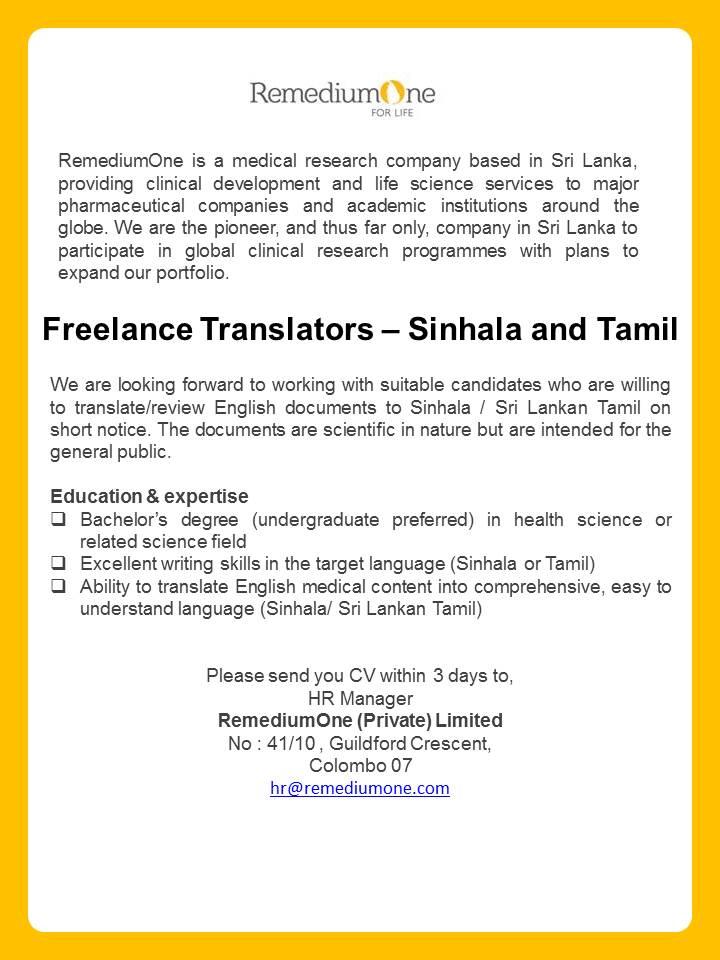 Freelance Translators Sinhala Tamil
