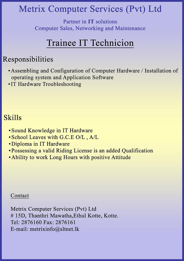 assembling and configuration of computer hardware installation of operating system and application software it hardware troubleshooting skills sound - Hardware Technician Jobs
