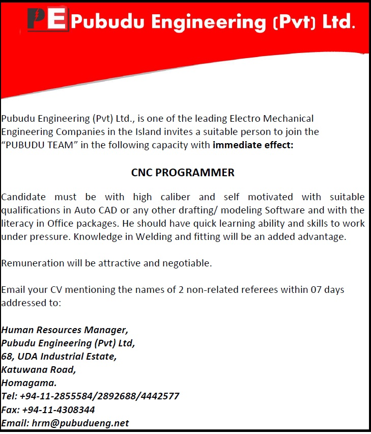 high caliber and self motivated with suitable qualifications in auto cad or any other drafting modeling software and with the literacy in office packages