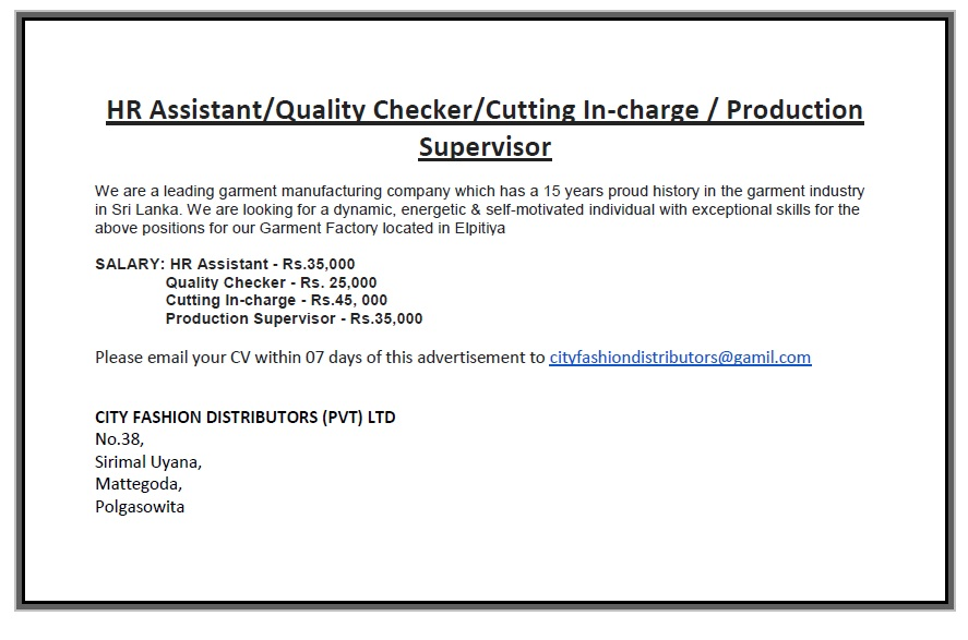 Quality Checker  Cutting InCharge  Production Supervisor Job
