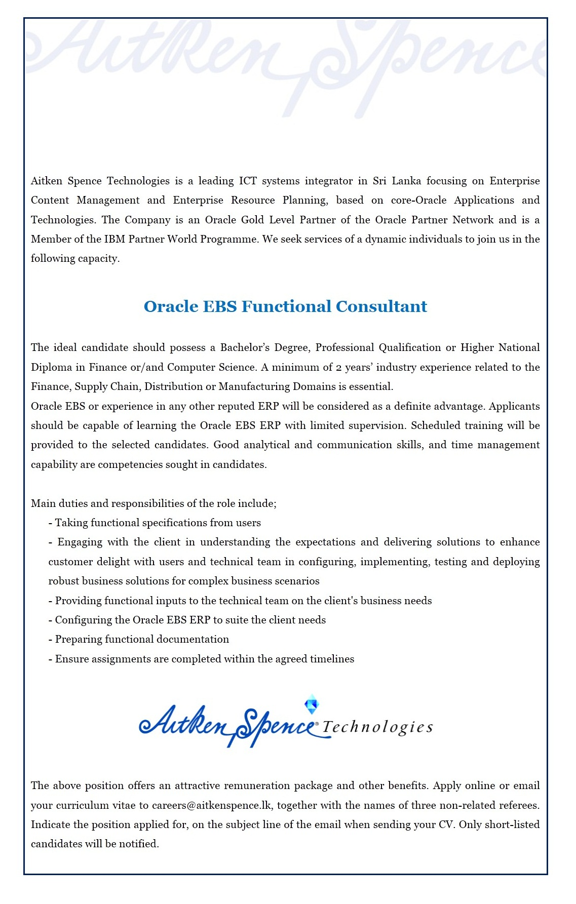 Oracle EBS Functional Consultant