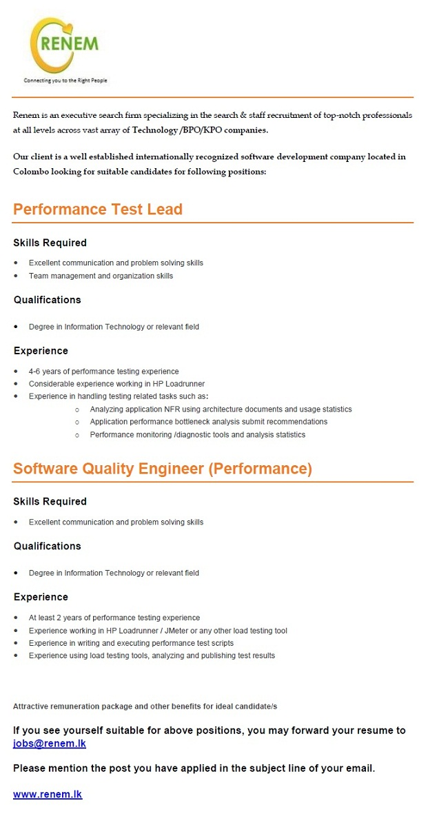 Performance Test Lead  Software Quality Engineer Job Vacancy In Sri