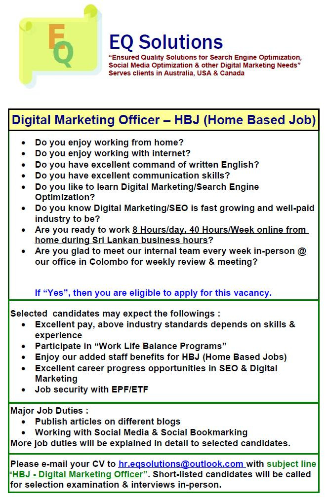 Digital Marketing Officer - Home Based Job Job Vacancy in Sri Lanka