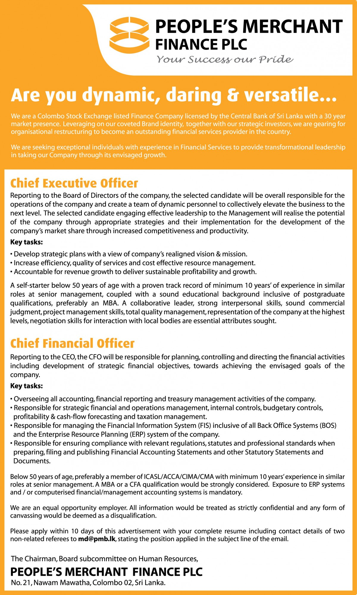 ceo cfo job vacancy in sri lanka below 50 years of age preferably a member of icasl acca cima cma minimum 10 years experience in similar roles at senior management