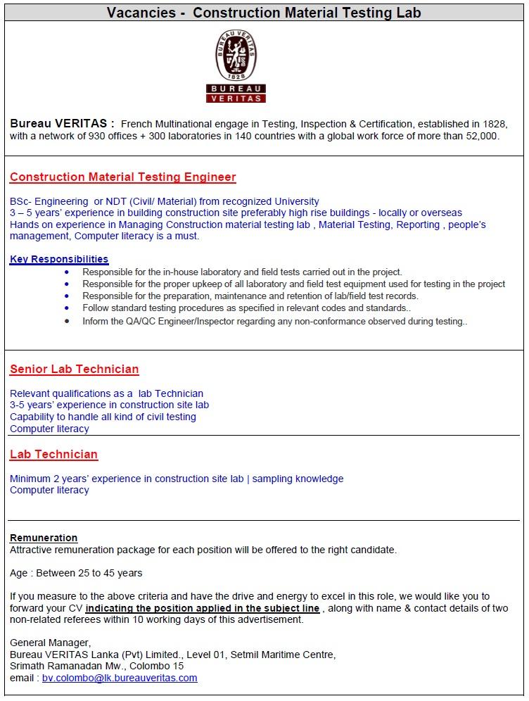 vacancies in construction field job vacancy in sri lanka. Black Bedroom Furniture Sets. Home Design Ideas